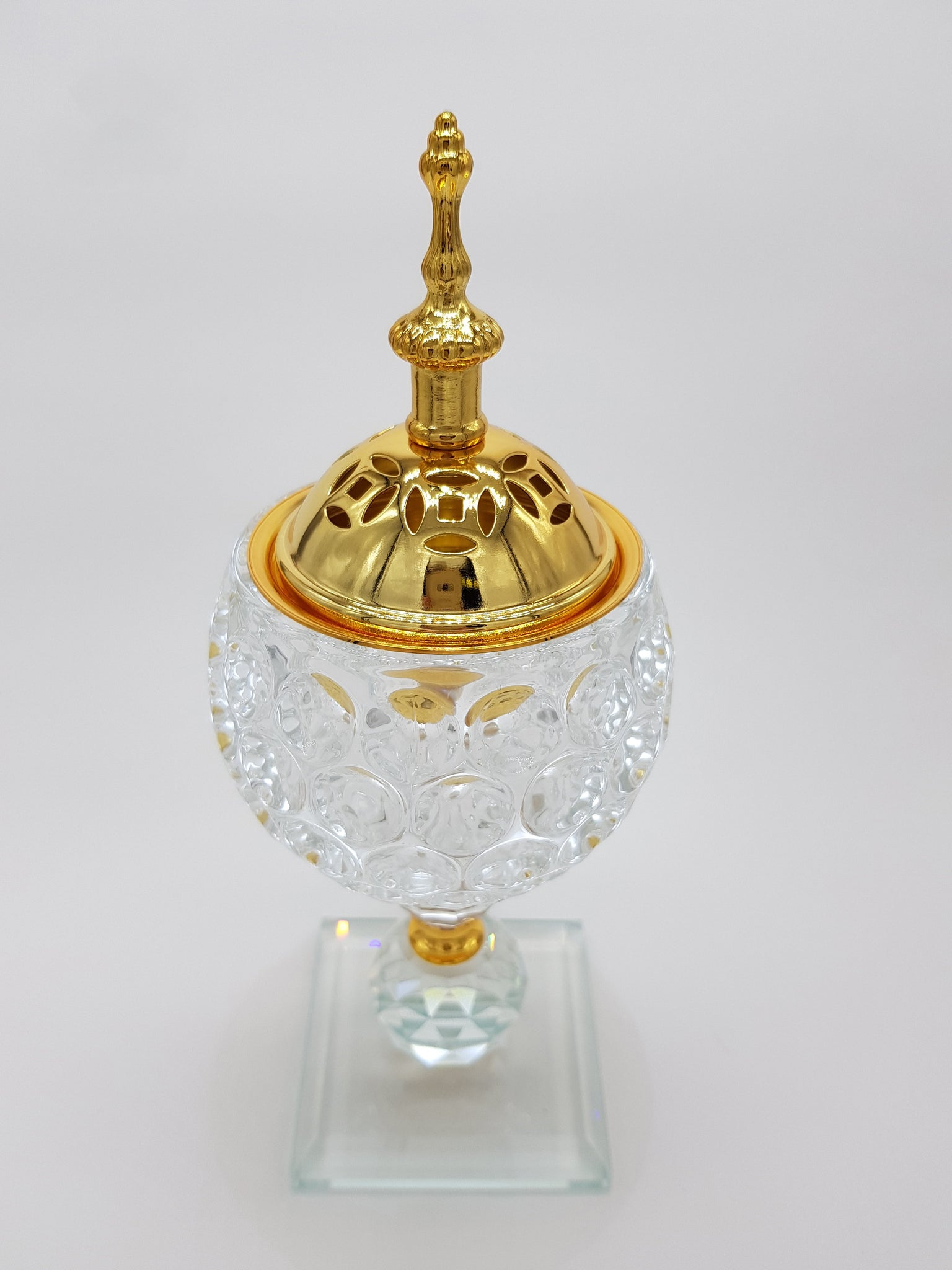 Non Electrical Crystal Bakhoor Burner with 50g Frgrance Paste & 10 Coal Coins Crystal Incense Holder Set 1009-Clear and Gold
