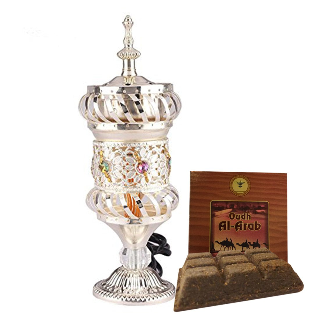 Electrical Bakhoor Burner & 50g Fragrance Paste Iron Incense Holder - Silver (Oud/BAKHOOR/LOBAAN)
