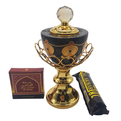 Non Electrical Bakhoor Burner with 10 Coal Coins & 40g Fragrance Paste - Black