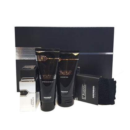 Al Haramain L'Aventure Fragrance - 4 Piece Perfume Gift Set For Men (Perfume, After Shave, Shower Gel, Towel)