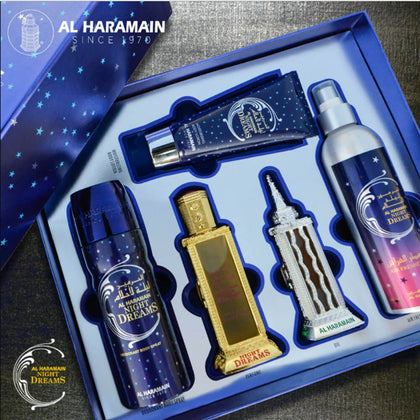 Al Haramain Night Dreams Fragrance contains Eau de Parfum 60ml, Perfume oil 30ml, Deodorant 200ml, Lotion 100ml & Air Freshener 250ml Gift Set For Men And Women