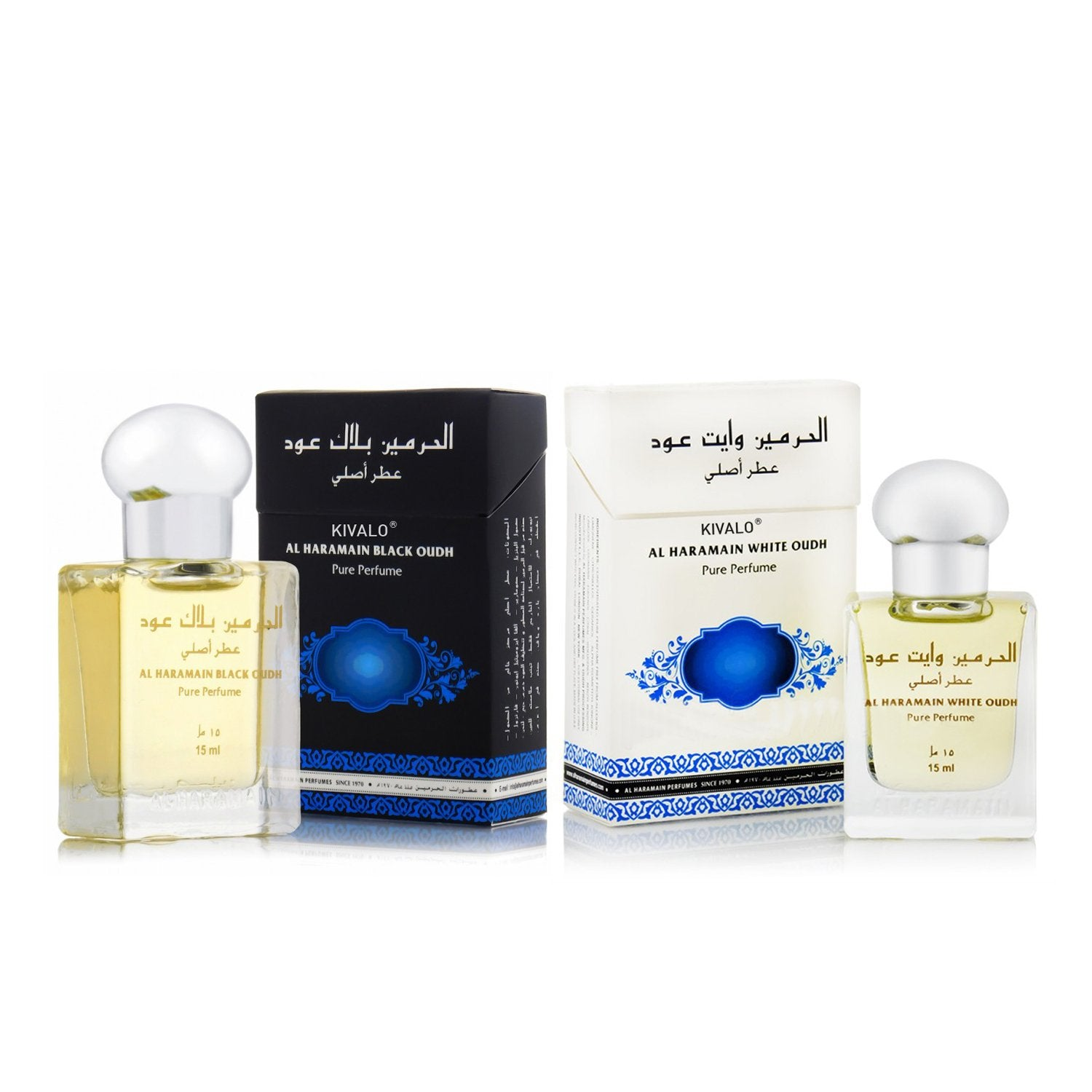 Al Haramain Black Oudh & White Oudh Roll on Attar Pack of 2  - 2 x 15ml