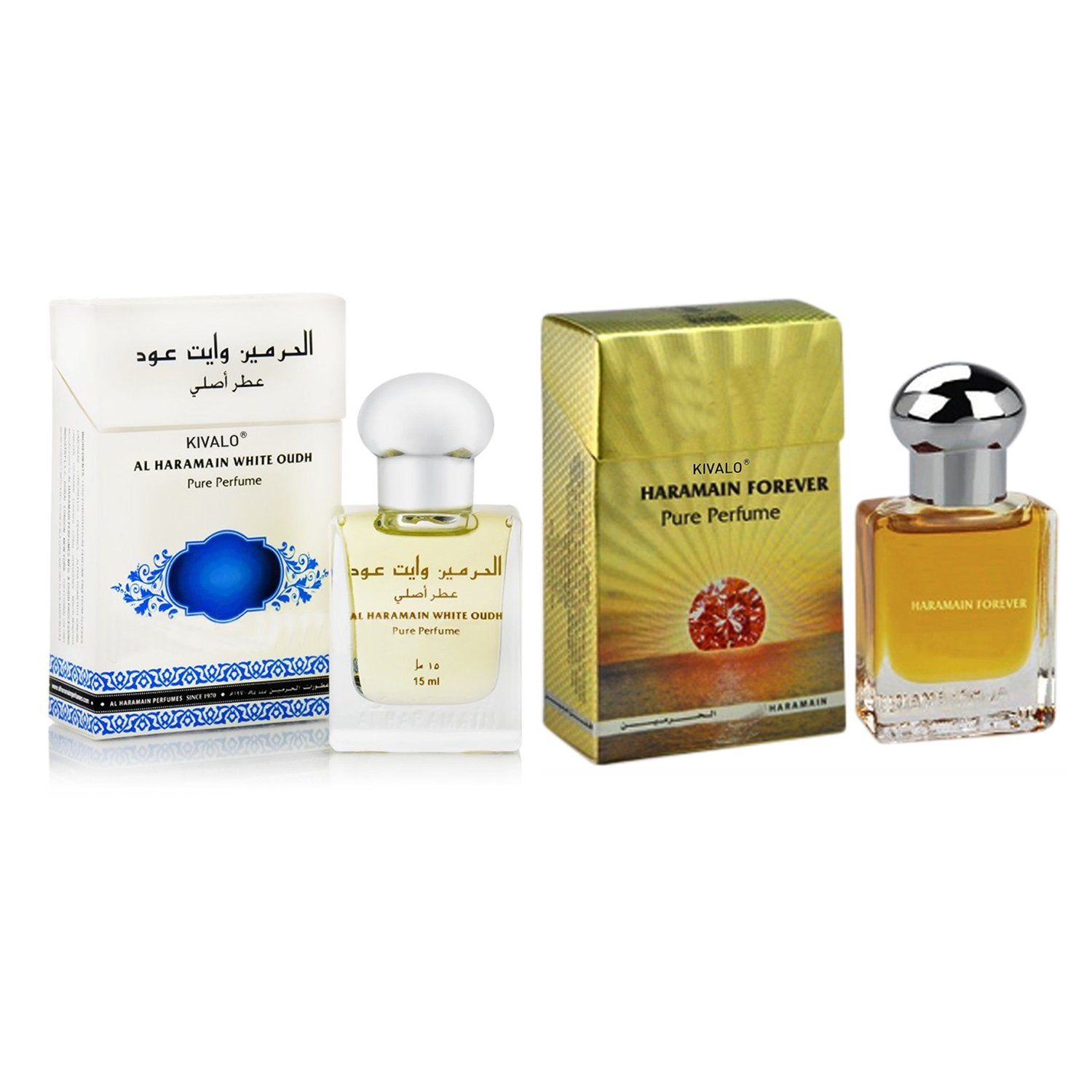 Al Haramain White Oudh & Forever Roll on Attar Pack of 2  - 2 x 15 ml