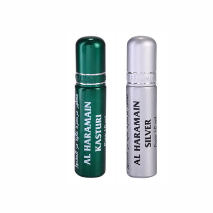 Al Haramain Kasturi & Silver Fragrance Pure Original Roll On Attar Combo Pack of 2 x 10 ml