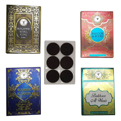 Al Alif Bukhoor Al Sanjar, Royal King, Al Waris & Al Noora Bakhoor Coin 6 pcs Home Fragrance Pack of 4