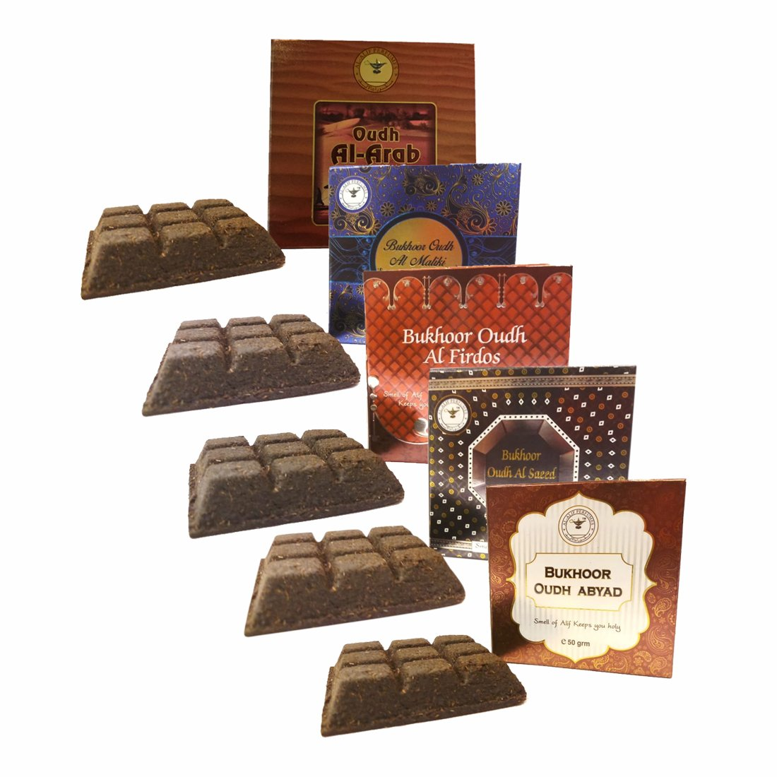 Alif Bukhoor Oudh Abyad, Al Firdous, Al Saeed, Al Maliki & Al Arab Incense Home Fragrance Pack Of 5 x 50g