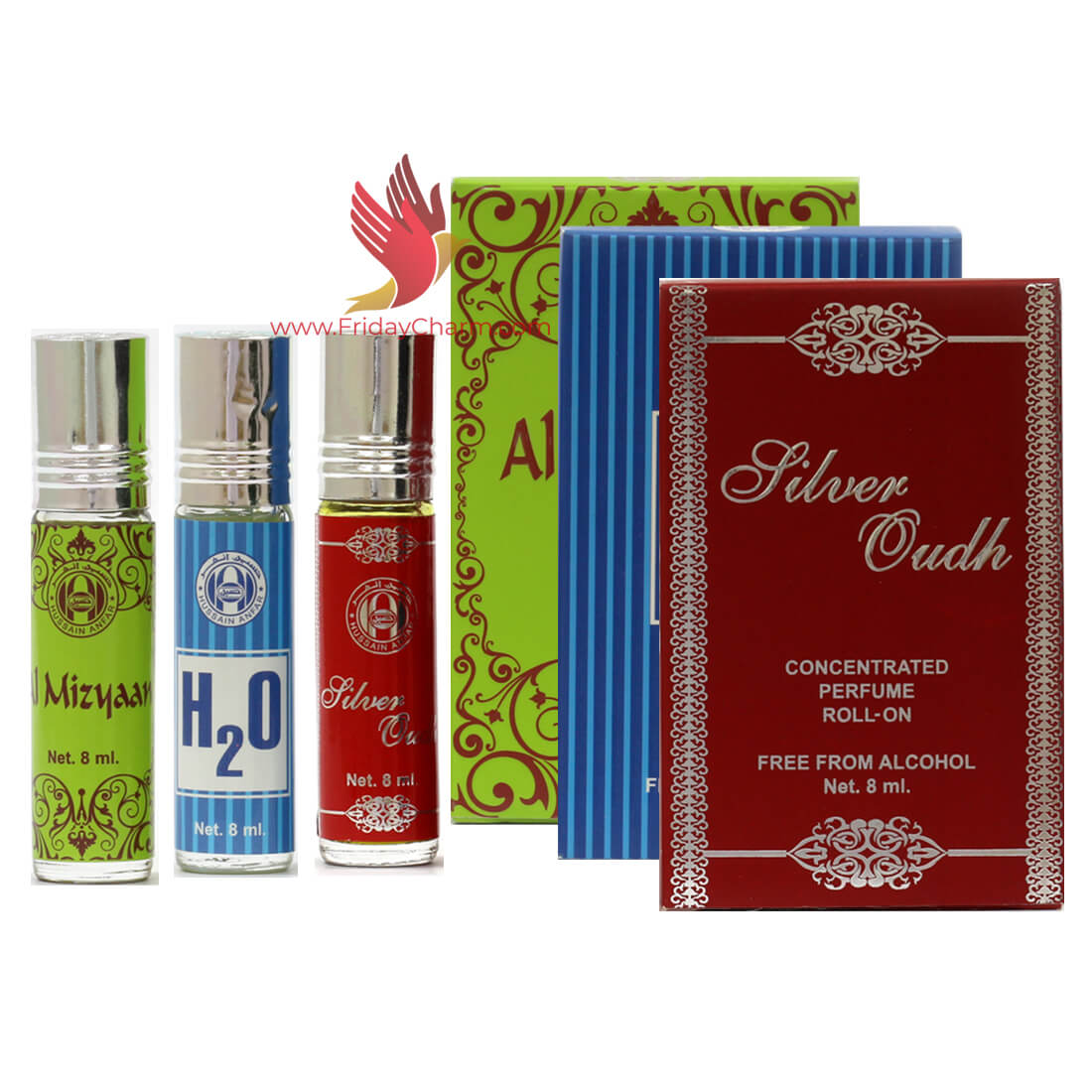 Anfar Silver Oudh, H2O & Al Mizyaan  8ml Roll on Attar Pack Of 3