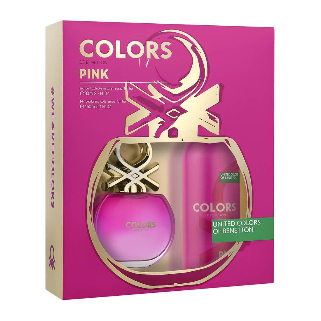 United Colors of Benetton Colors Pink Fragrance Gift Set Perfume for Women 80ml + Deodorant Spray 150ml