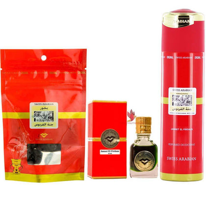 Swiss Arabian Jannat ul Firdaus Combo Pack of Attar, Deodorant & Bakhoor Paste 100% original