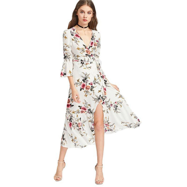 FLOWER FIELDS FLORAL Chiffon V Neck Maxi Dress - OutFancy