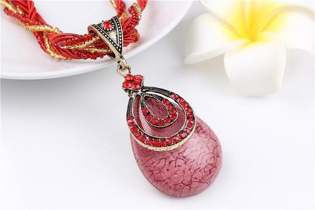 Bohemian Colorful Beads & Rhinestone Water Drop Pendant - OutFancy