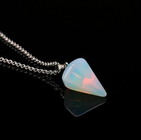 Natural crystal stone pendant necklace - OutFancy