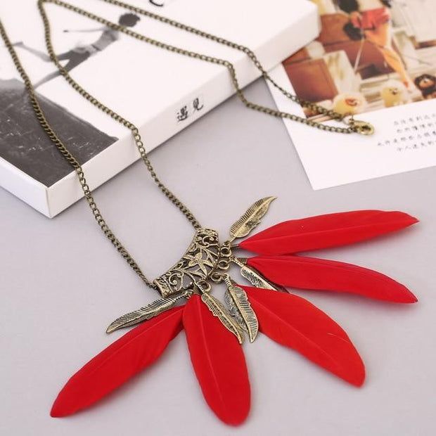 New style Feather Bohemian Long Necklace - OutFancy