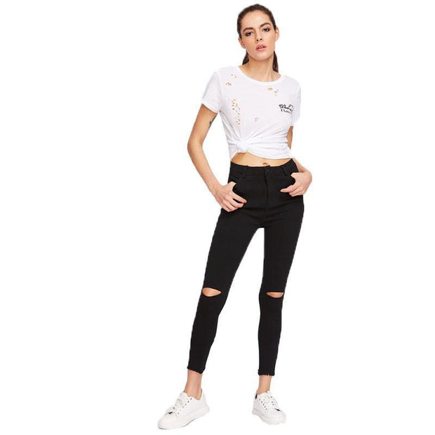 THE SWEET FACE OF TROUBLE Frayed Hem Jeans - OutFancy