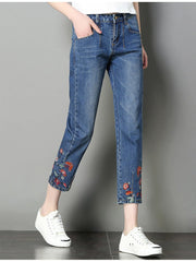 JUST HAVING FUN Embroidery jeans - OutFancy
