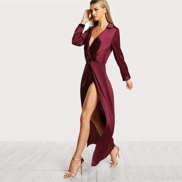 JUST FOR YOU Satin Front Twist Dress - OutFancy