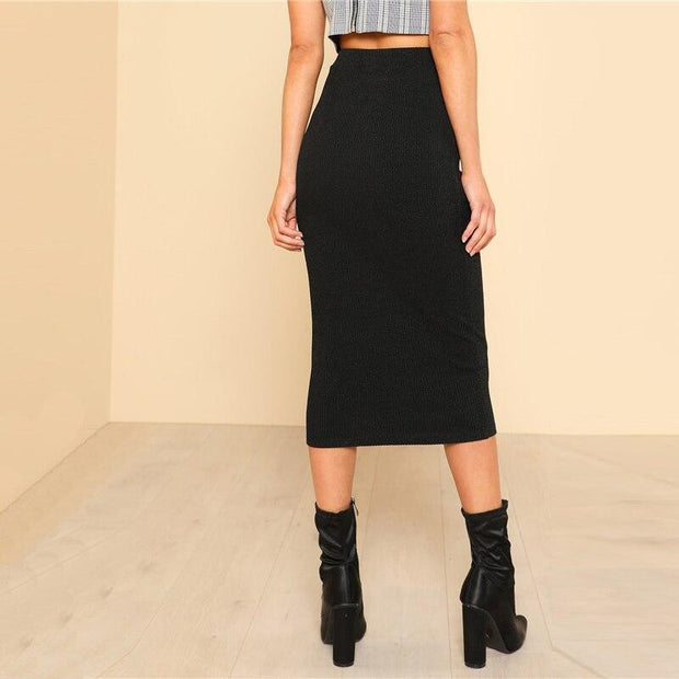 SHOWTIME Elastic Waist Skirt - OutFancy