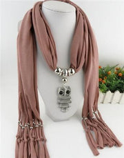 Women Scarf necklace with Silver Jewelry - OutFancy