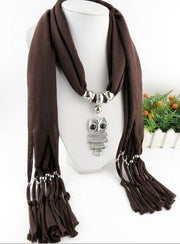Women Scarf necklace with Silver Jewelry