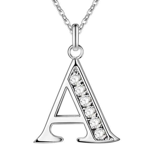 Fashion Silver Crystal Letter Chain Necklace - OutFancy