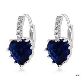 Fashion Dropping Blue Heart Zircon Earrings - OutFancy