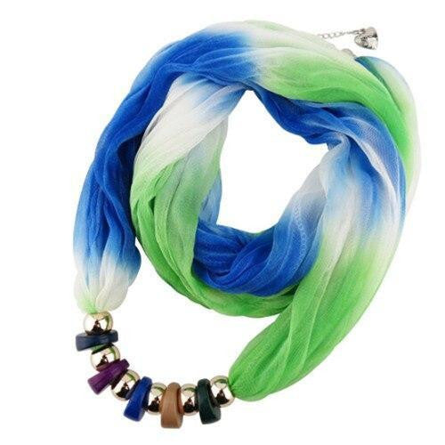 Women Resin Pendant Silk Scarf Jewelry
