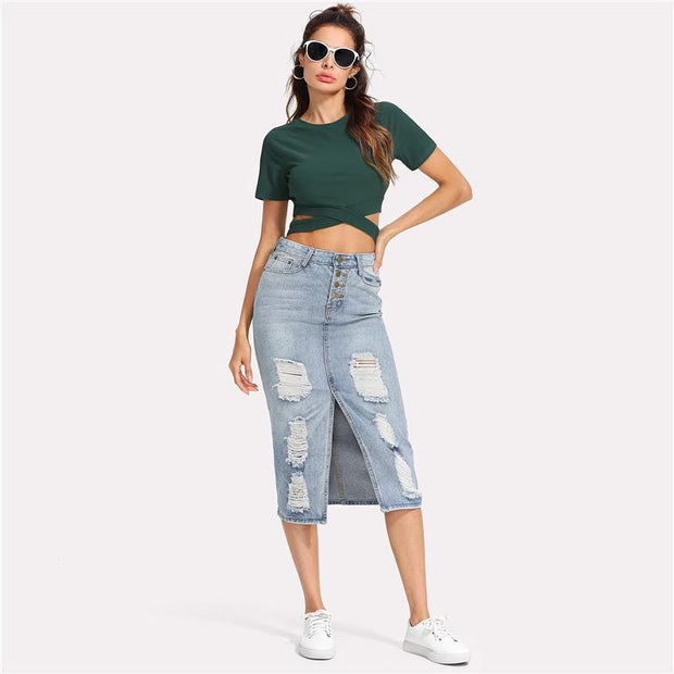 BEAUTIFUL DREAMS Ripped Denim Skirt - OutFancy