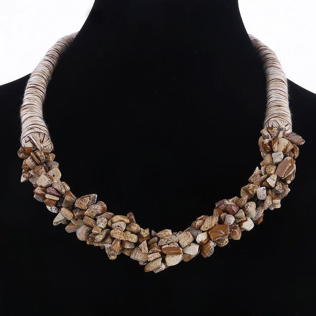 The Boho Wooden Color Natural Stone Choker - OutFancy