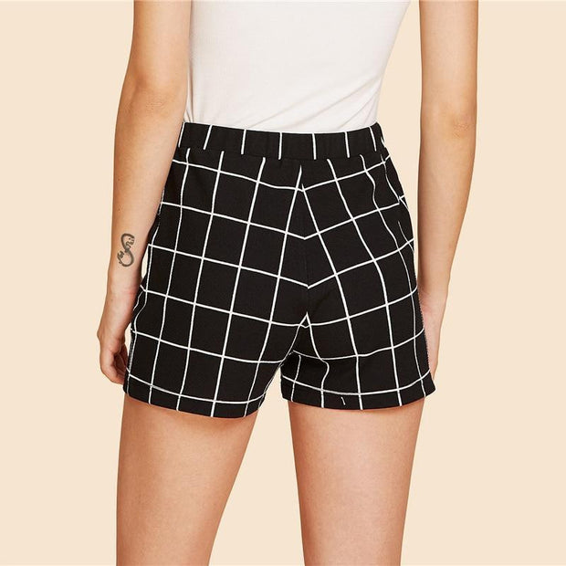 LOVE ME  Elastic Waist Grid Shorts - OutFancy
