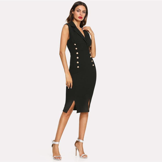Elegant Notched V-Neck Skinny Dress - OutFancy