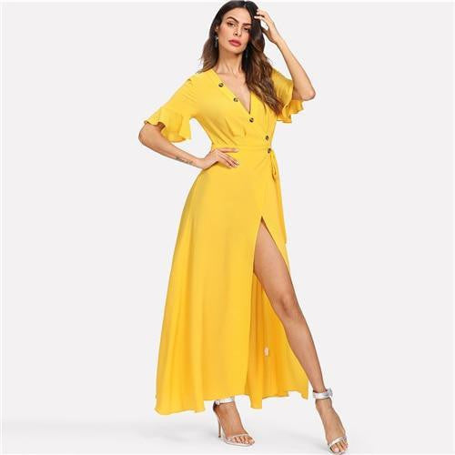 Keep Loving You Buttoned Deep V-Neck Maxi Dress - OutFancy