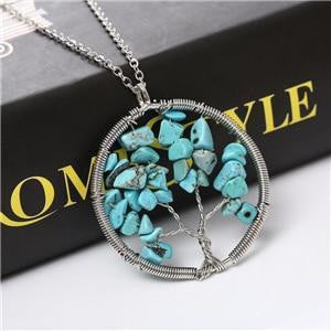 Women Natural Stone Silver Necklace