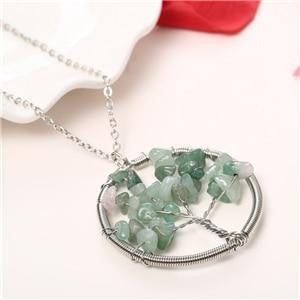 Women Natural Stone Silver Necklace - OutFancy