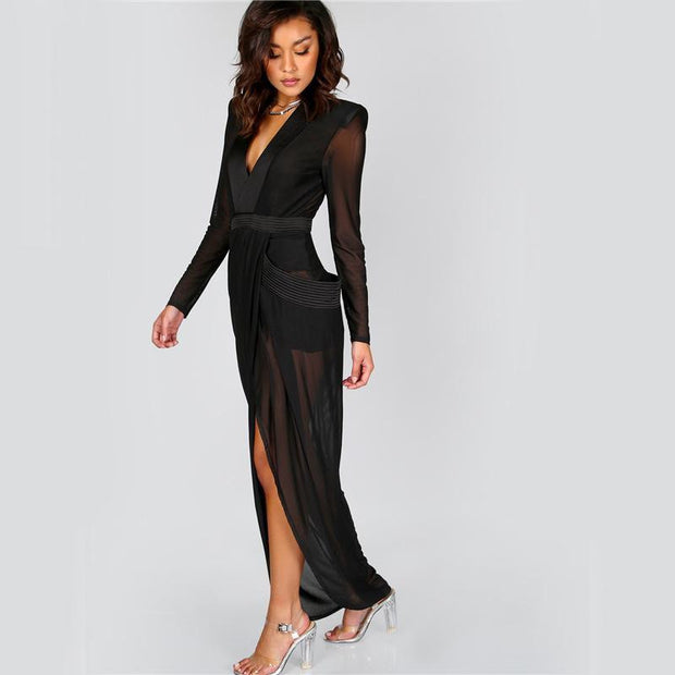 GOT HIM BEGGING V Neck Shoulder Pads Maxi Dress - OutFancy