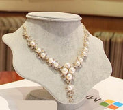 OutFancy Bling Austria Rhinestone & Simulated Pearl Choker - OutFancy