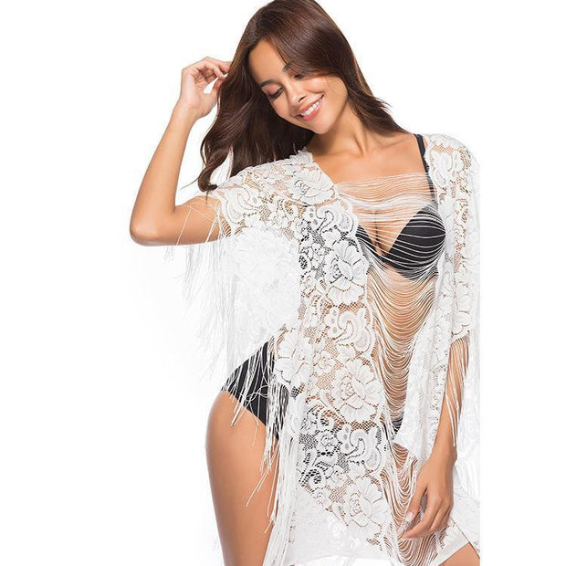 PARADISE BEACH Floral Lace COVER UP - OutFancy