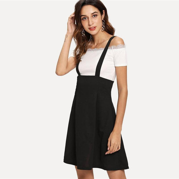 WORK WITH ME Flare Pinafore Skirt - OutFancy