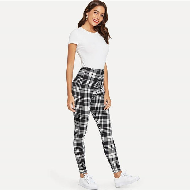 SINCE DAY ONE Plaid Leggings - OutFancy