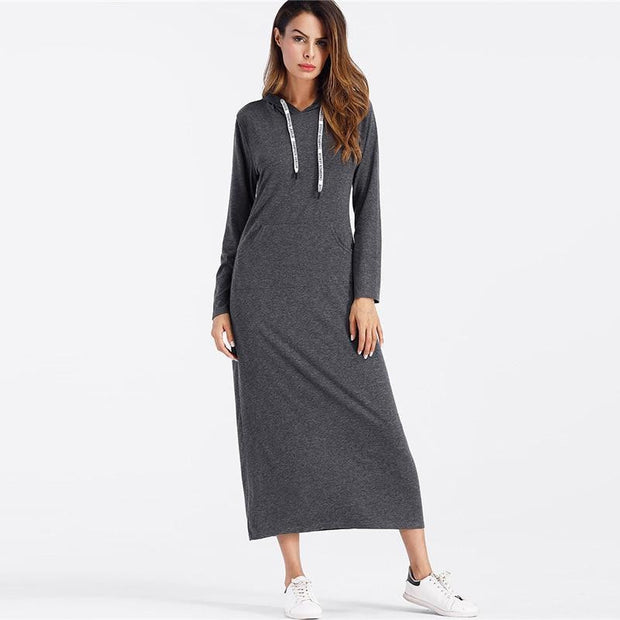Trendy Drawstring Pocket Hoodie MAXI Dress - OutFancy