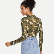 Camouflage Crop Long Sleeve - OutFancy