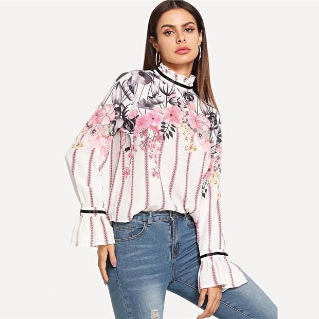 Floral Long Sleeve Blouse - OutFancy