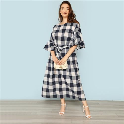 OutFancy CURVE Plaid MAXI Dress - OutFancy