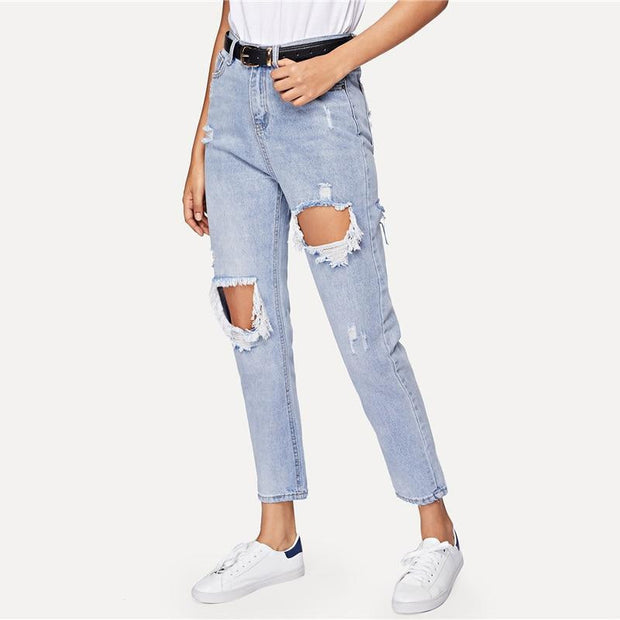 TOUGH LUCK Ripped Jeans - OutFancy