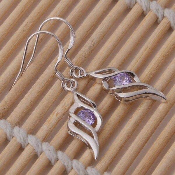 Drop Long Silver Purple Zirconia Earrings - OutFancy