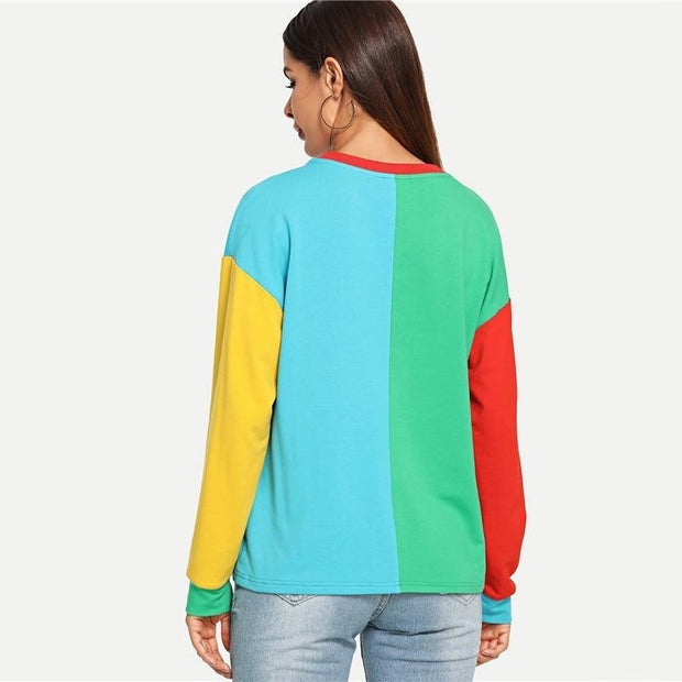 Colorblock Sweatshirt Autumn - OutFancy