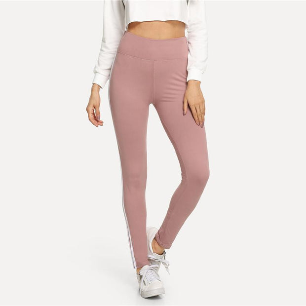 ON THE DAILY Pink Striped Leggings - OutFancy