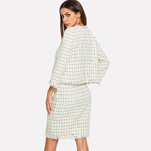 2 Piece Set Plaid Bolero 2018 - OutFancy