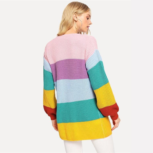 Multicolor Placket Cardigan - OutFancy
