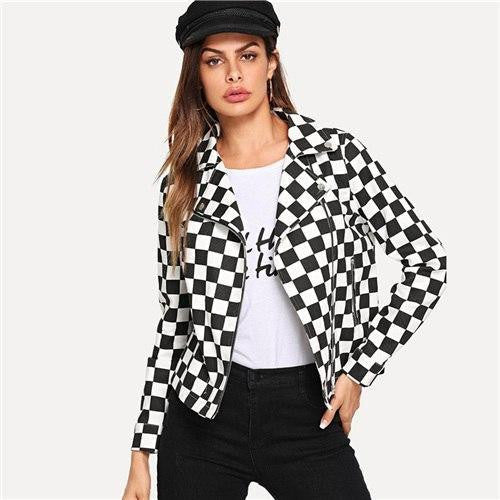 Black and White Moto Jacket - OutFancy