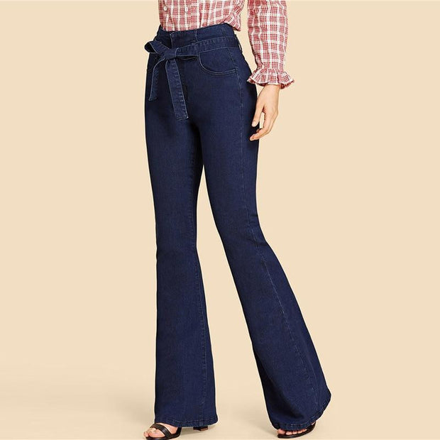 WIFEY HIGH RISE Navy Flare Jeans - OutFancy